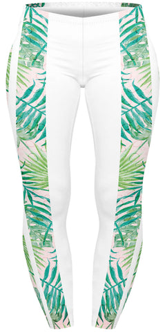 Watercolour Palms Stripes Plus Leggings-Wholesale Women's Leggings, Wholesale Plus Size , Wholesale Fashion Clothing