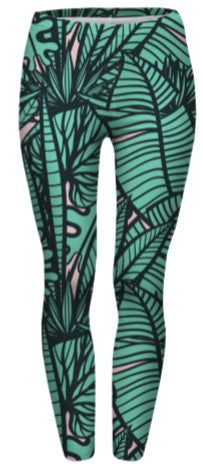 Green Tropical Leaves Regular Leggings-Wholesale Women's Leggings, Wholesale Plus Size , Wholesale Fashion Clothing