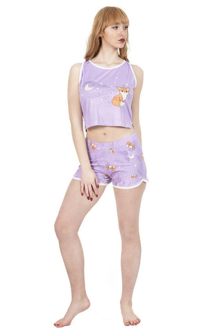Foxicorn Pyjama Shorts-Wholesale Leggings UK- Wholesale Women's Clothing- Kukubird Creative Studio