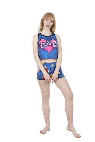 Valentines Jeans Pyjama Shorts-Wholesale Leggings UK- Wholesale Women's Clothing- Kukubird Creative Studio