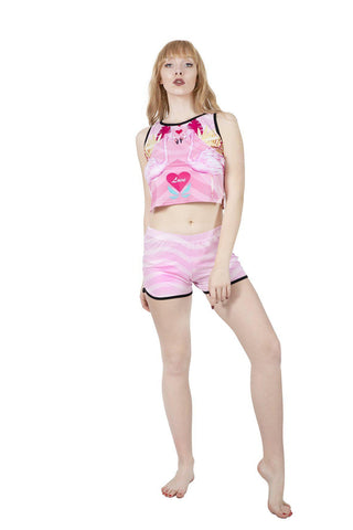 Flamingo Love Pyjama Shorts-Wholesale Women's Leggings, Wholesale Plus Size , Wholesale Fashion Clothing