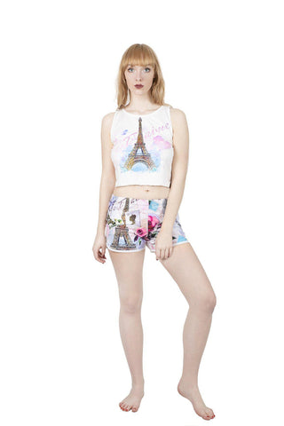 From Paris with Love Pyjama Shorts-Wholesale Leggings UK- Wholesale Women's Clothing- Kukubird Creative Studio
