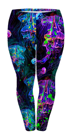Jellyfish Neon Plus Leggings-Wholesale Women's Leggings, Wholesale Plus Size , Wholesale Fashion Clothing