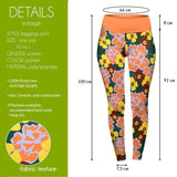 Orange Flowers High Waisted Leggings-Wholesale Women's Leggings, Wholesale Plus Size , Wholesale Fashion Clothing