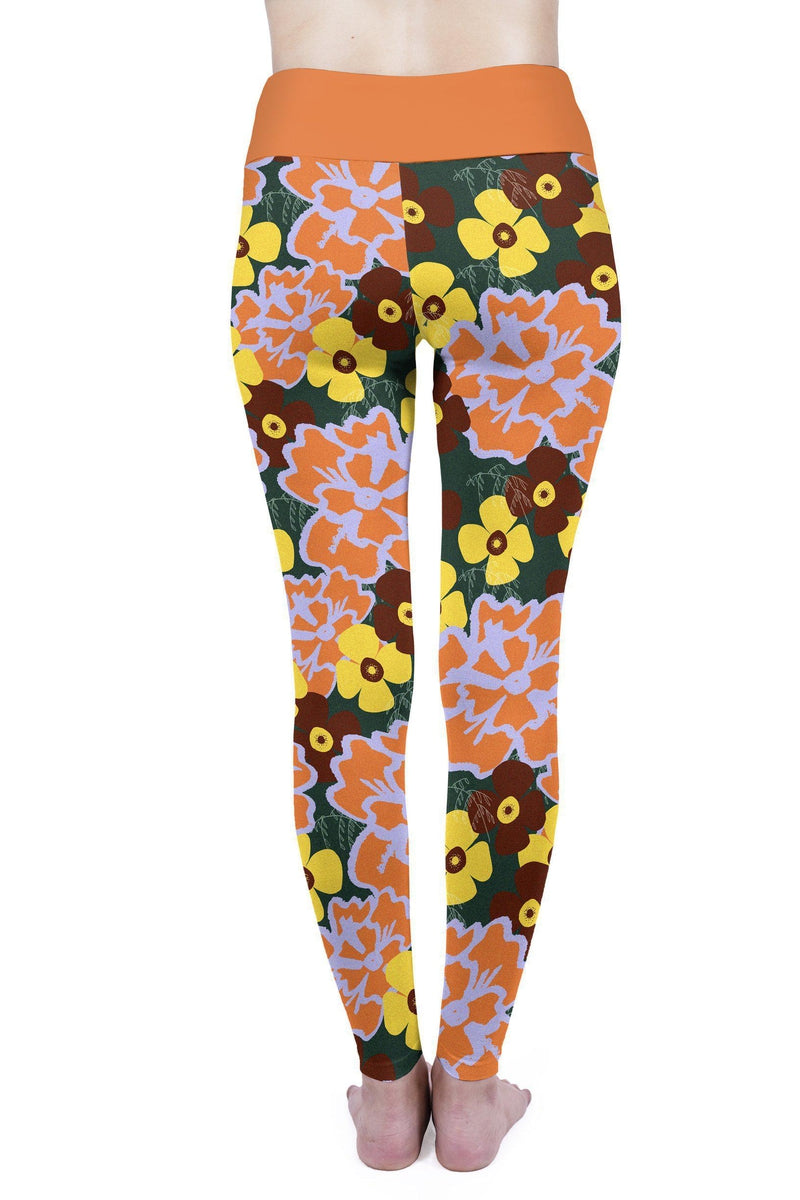 Orange Flowers High Waisted Leggings-Wholesale Leggings UK- Wholesale Women's Clothing- Kukubird Creative Studio