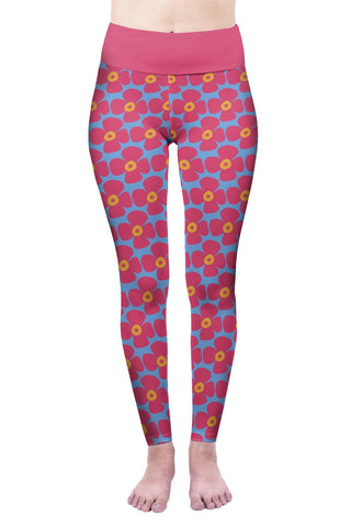 Bright Poppies High Waisted Leggings-Wholesale Women's Leggings, Wholesale Plus Size , Wholesale Fashion Clothing