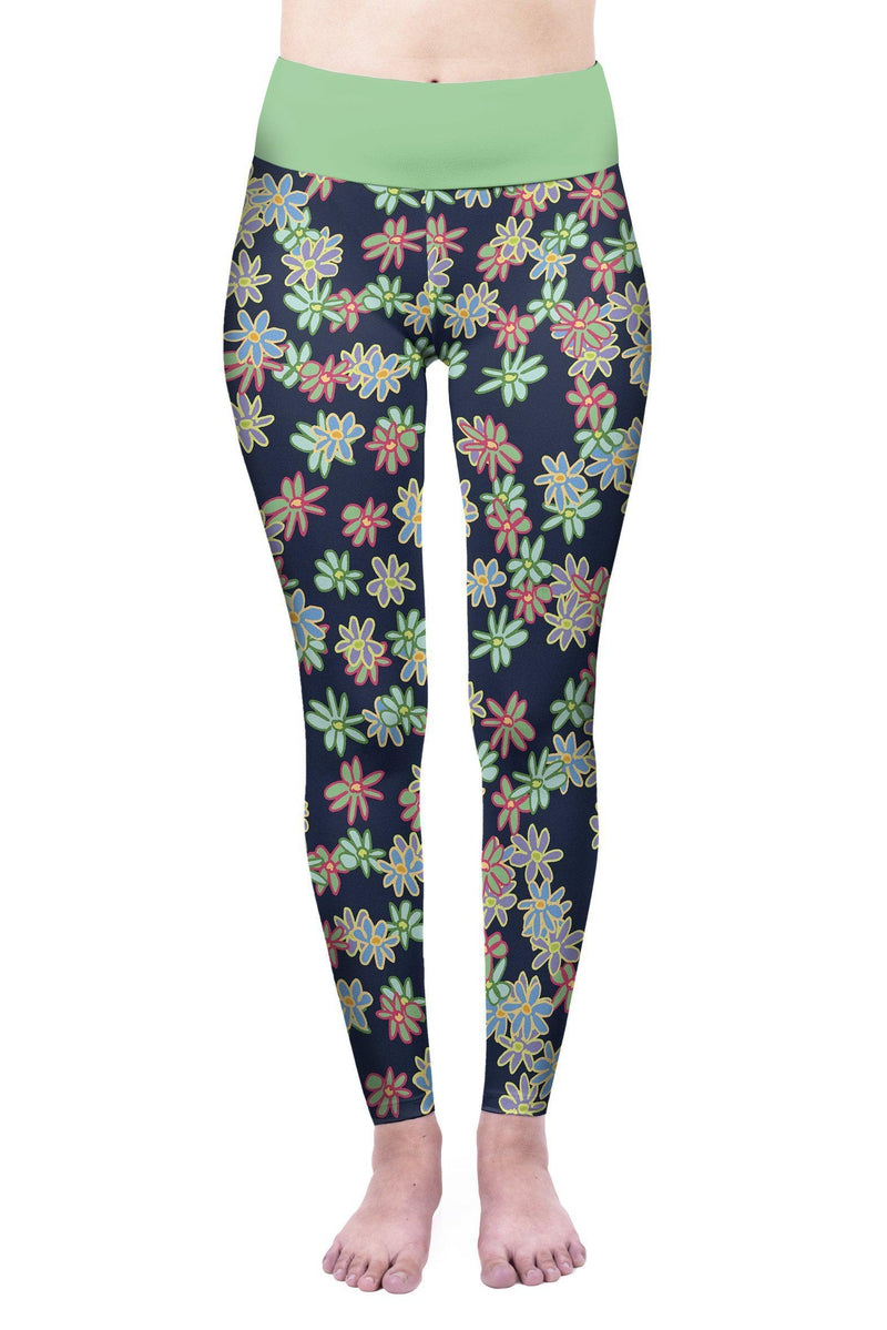 Crazy Daisies High Waisted Leggings-Wholesale Leggings UK- Wholesale Women's Clothing- Kukubird Creative Studio