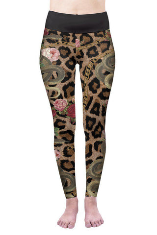 Snakes And Chains High Waisted Leggings-Wholesale Women's Leggings, Wholesale Plus Size , Wholesale Fashion Clothing