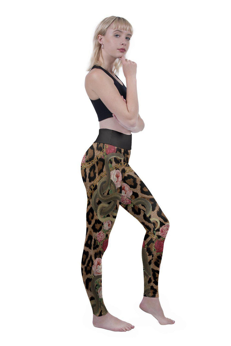 Snakes And Chains High Waisted Leggings-Kukubird Creative Studio