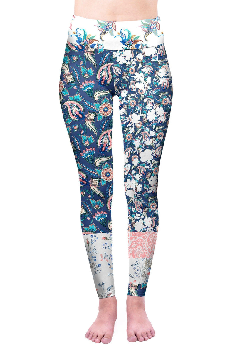 Patchwork Flowers High Waisted Leggings-Kukubird Creative Studio