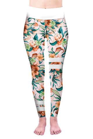 Paradise Flowers High Waisted Leggings-Wholesale Women's Leggings, Wholesale Plus Size , Wholesale Fashion Clothing
