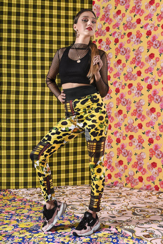 Sunflower Leopards High Waisted Leggings-Wholesale Women's Leggings, Wholesale Plus Size , Wholesale Fashion Clothing