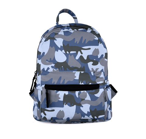 Cat Camo Blue Mini Backpacks-Wholesale Women's Leggings, Wholesale Plus Size , Wholesale Fashion Clothing