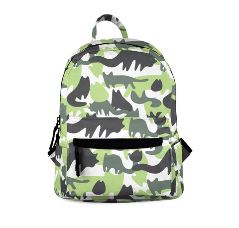 Cat Camo Green Mini Backpacks-Wholesale Women's Leggings, Wholesale Plus Size , Wholesale Fashion Clothing