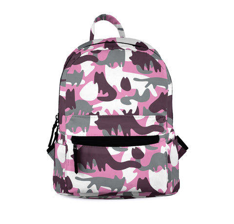 Cat Camo Pink Mini Backpacks-Wholesale Women's Leggings, Wholesale Plus Size , Wholesale Fashion Clothing