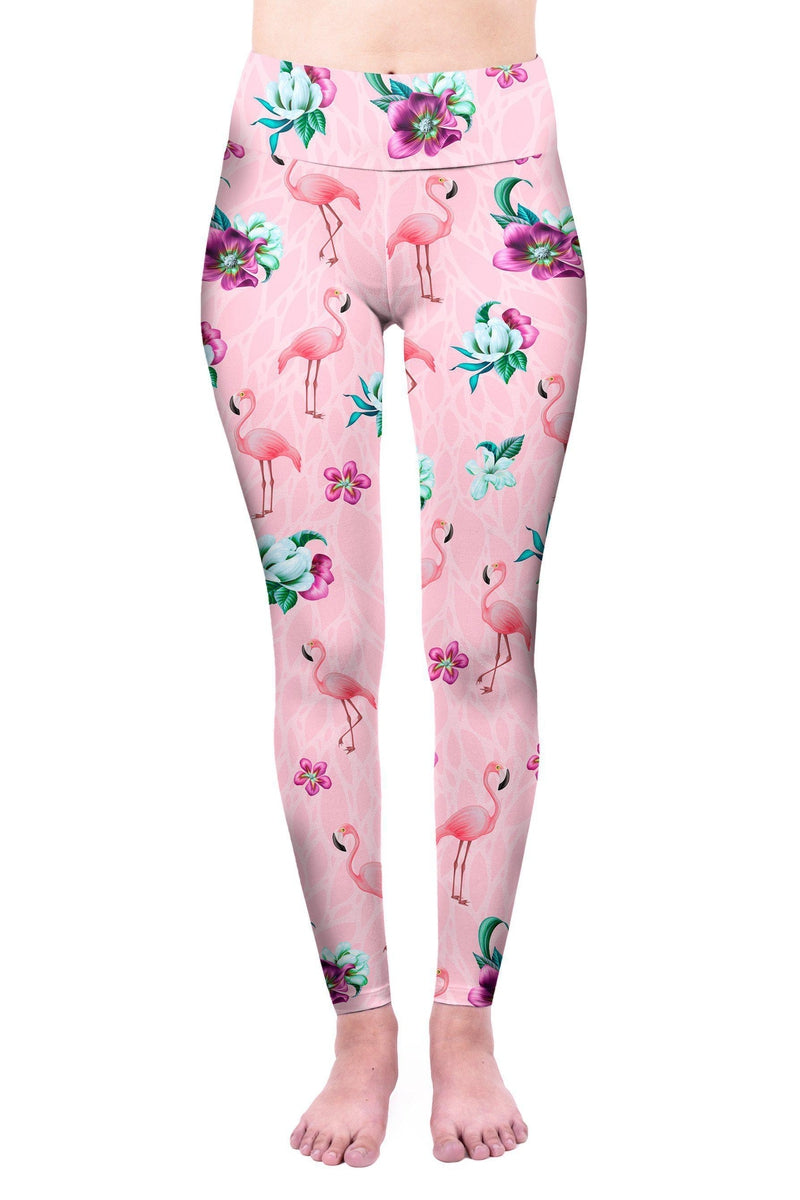 Flamingo Paradise High Waisted Leggings-Wholesale Leggings UK- Wholesale Women's Clothing- Kukubird Creative Studio