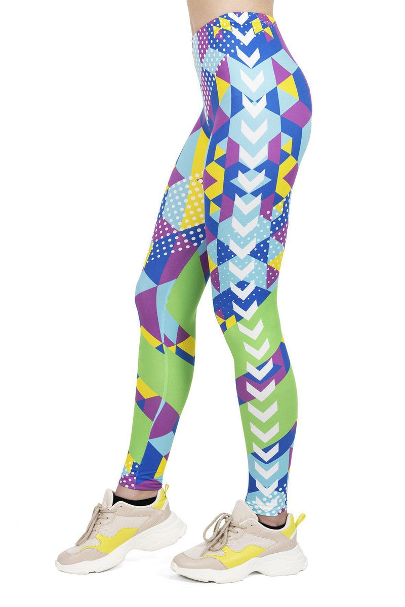 Geo Cubic Regular Leggings-Wholesale Leggings UK- Wholesale Women's Clothing- Kukubird Creative Studio