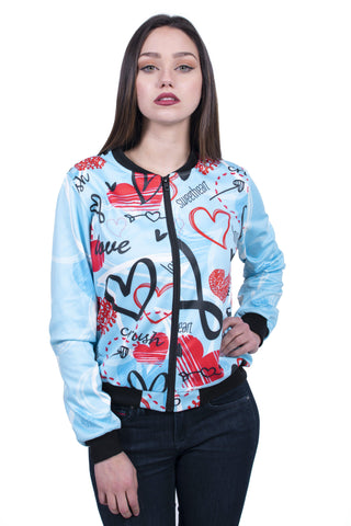 Heart Doodles Bomber Jacket-Wholesale Women's Leggings, Wholesale Plus Size , Wholesale Fashion Clothing