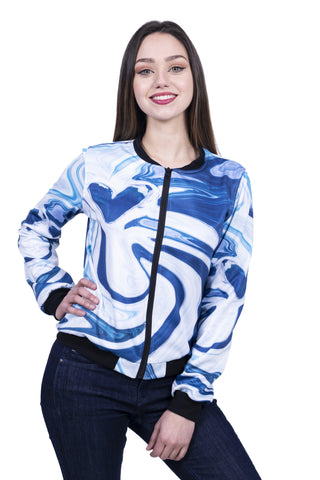 Marble Heart Blue Bomber Jacket-Wholesale Women's Leggings, Wholesale Plus Size , Wholesale Fashion Clothing