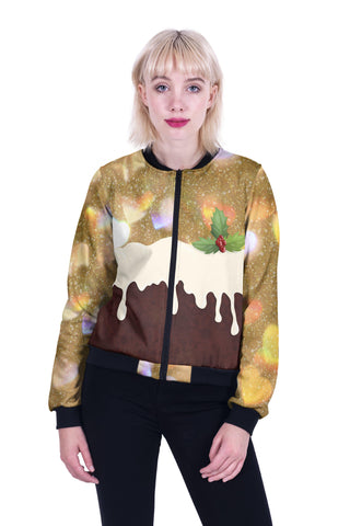 Christmas Pudding Bomber Jacket-Wholesale Women's Leggings, Wholesale Plus Size , Wholesale Fashion Clothing