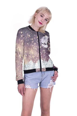 Santa's Flight Bomber Jacket-Wholesale Women's Leggings, Wholesale Plus Size , Wholesale Fashion Clothing