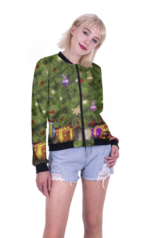 Tree & Gifts Bomber Jacket-Wholesale Women's Leggings, Wholesale Plus Size , Wholesale Fashion Clothing