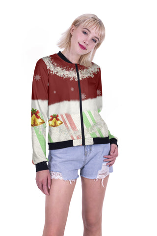 Wreath & Bells Bomber Jacket-Wholesale Women's Leggings, Wholesale Plus Size , Wholesale Fashion Clothing