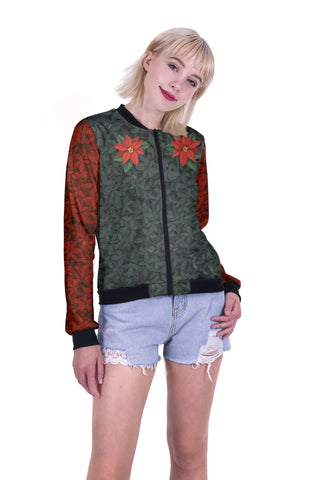 Wreath Love Bomber Jacket-Wholesale Women's Leggings, Wholesale Plus Size , Wholesale Fashion Clothing