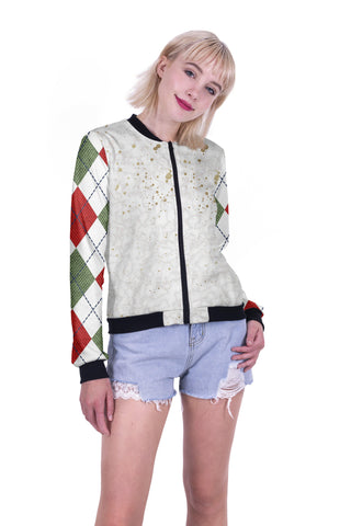 Hipster Chrsitmas Bomber Jacket-Wholesale Women's Leggings, Wholesale Plus Size , Wholesale Fashion Clothing