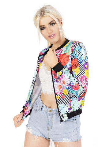Flower Power Bomber Jacket-Wholesale Leggings UK- Wholesale Women's Clothing- Kukubird Creative Studio