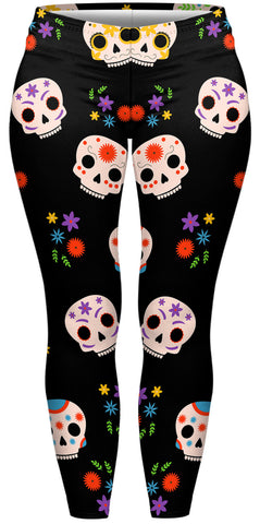 Bright Skulls Plus Leggings-Wholesale Women's Leggings, Wholesale Plus Size , Wholesale Fashion Clothing