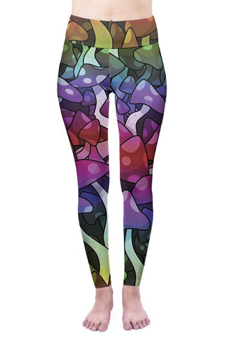 Mushroom High Waisted Leggings-Wholesale Leggings UK- Wholesale Women's Clothing- Kukubird Creative Studio