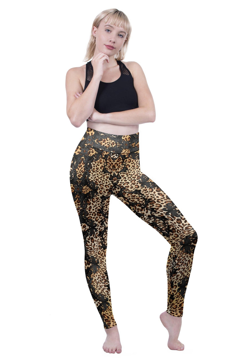 Dark Ornate Leopard High Waisted Leggings-Wholesale Leggings UK- Wholesale Women's Clothing- Kukubird Creative Studio
