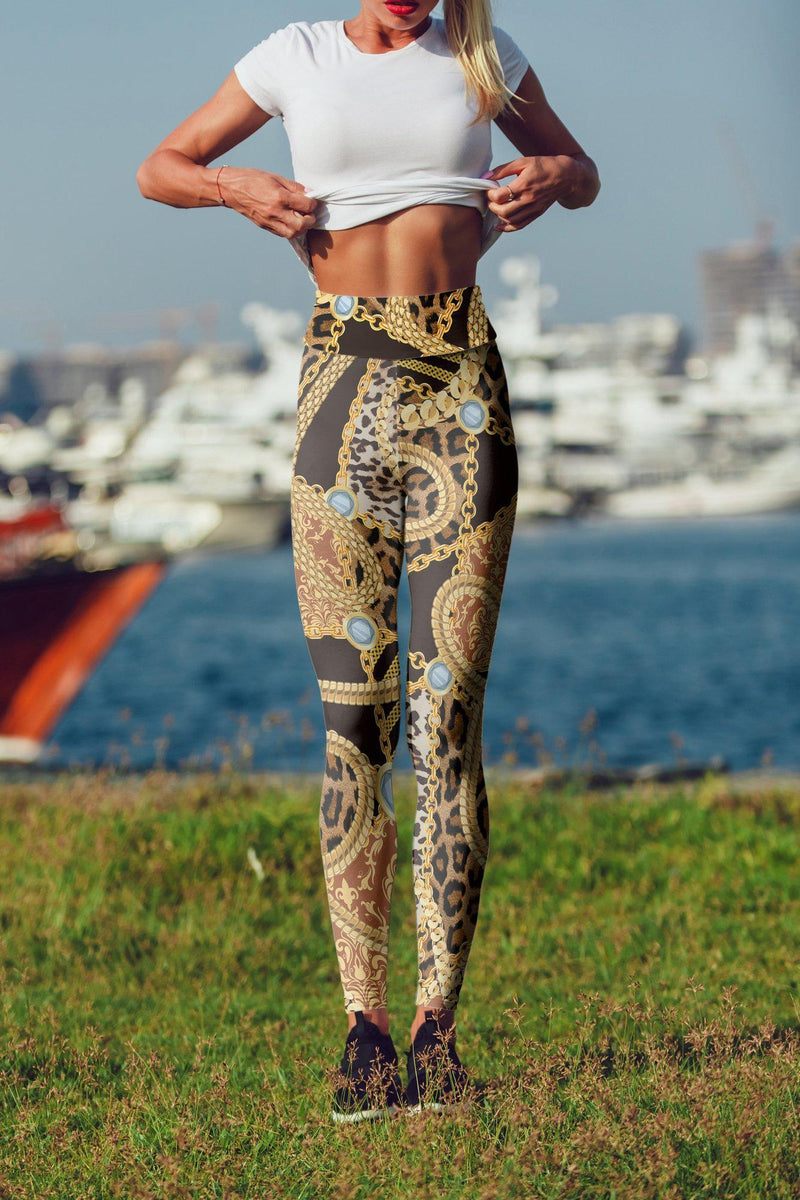 Leopard Print With Chains High Waisted Leggings-Kukubird Creative Studio