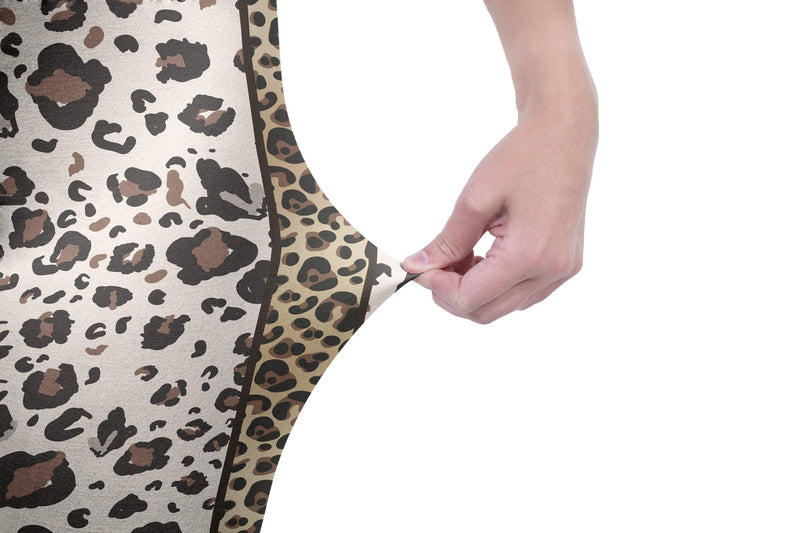 Leopard With Gold Stripe Print High Waisted Leggings-Kukubird Creative Studio