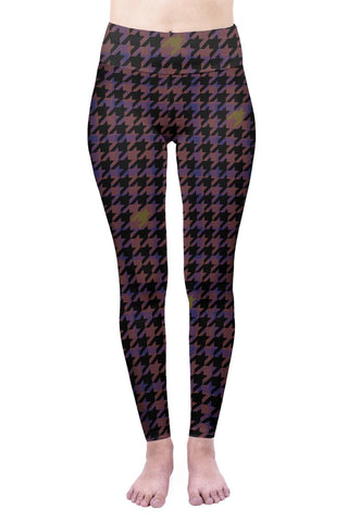Magenta Dog-tooth High Waisted Leggings-Wholesale Women's Leggings, Wholesale Plus Size , Wholesale Fashion Clothing