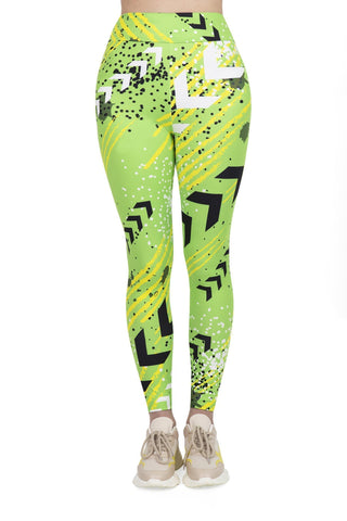 Green Neon Sport High Waisted Leggings-Wholesale Women's Leggings, Wholesale Plus Size , Wholesale Fashion Clothing