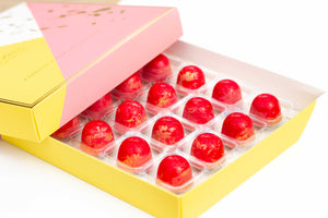 Strawberry Pink Gin Quarantini Chocolate Truffles 16 piece box