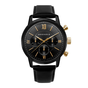 ARIES GOLD URBAN ETERNAL BLACK STAINLESS STEEL G 1027 BKG-BKG BLACK LEATHER STRAP MEN'S WATCH