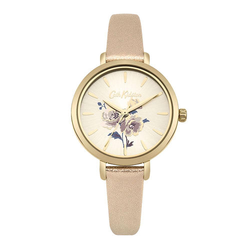 CATH KIDSTON QUARTZ ISLAND BUNCH GOLD ALLOY CKL049G METALLIC LEATHER STRAP LADIES WATCH