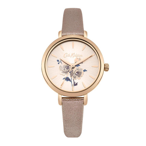 CATH KIDSTON QUARTZ ISLAND BUNCH ROSE GOLD ALLOY CKL049RG METALLIC LEATHER STRAP LADIES WATCH