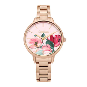 CATH KIDSTON QUARTZ PAINTBOX FLOWERS ROSE GOLD STAINLESS STEEL CKL050RGM LADIES WATCH