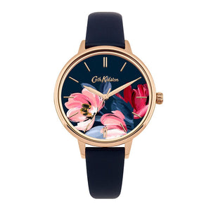 CATH KIDSTON QUARTZ PAINTBOX FLOWERS ROSE GOLD ALLOY CKL050URG NAVY LEATHER STRAP LADIES WATCH