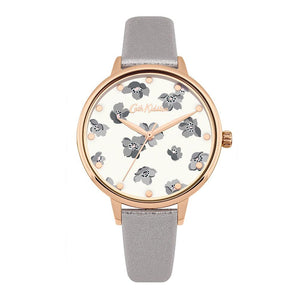 CATH KIDSTON QUARTZ GROVE DITSY ROSE GOLD ALLOY CKL053ERG GREY METALLIC LEATHER STRAP LADIES WATCH