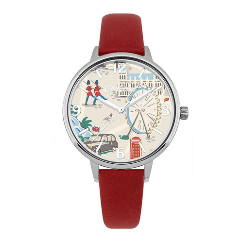 CATH KIDSTON QUARTZ LONDON MAP SILVER ALLOY CKL053R RED LEATHER STRAP LADIES WATCH
