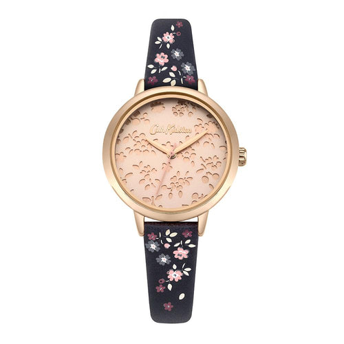 CATH KIDSTON QUARTZ LASER CUT HIGHGATE DITSY ROSE GOLD ALLOY CKL055URG NAVY PU STRAP LADIES WATCH