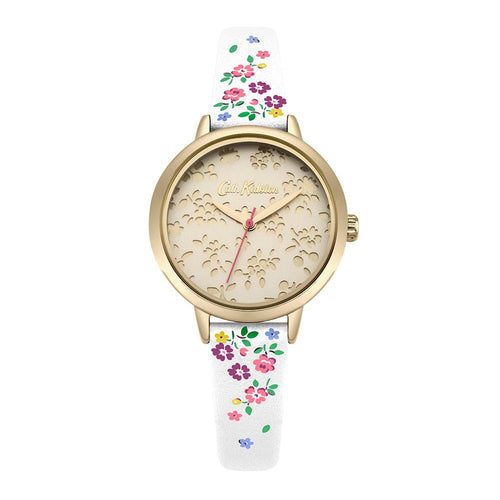CATH KIDSTON QUARTZ LASER CUT HIGHGATE DITSY GOLD ALLOY CKL055WG CREAM PU STRAP LADIES WATCH