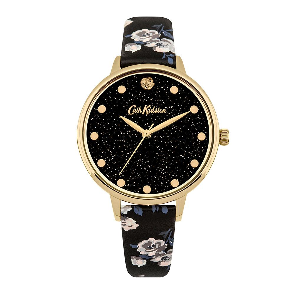 CATH KIDSTON QUARTZ GLITTERY ISLAND GOLD ALLOY CKL056BG BLACK PU STRAP LADIES WATCH