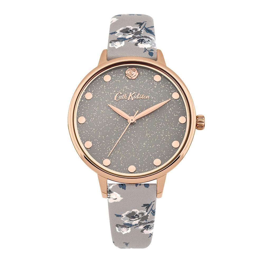 CATH KIDSTON QUARTZ GLITTERY ISLAND ROSE GOLD ALLOY CKL056ERG GREY PU STRAP LADIES WATCH
