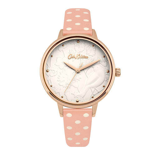 CATH KIDSTON QUARTZ 3D BIRD ROSE GOLD ALLOY CKL057PRG NUDE SPOT LEATHER STRAP LADIES WATCH
